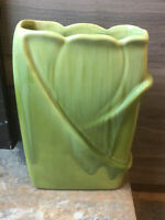 Vtg Royal Haeger Pottery R651 USA , Tulip Vase Chartreuse  & Honey Glaze 1950s