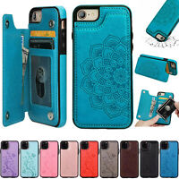 Leather Flip Wallet Card Holder Case Cover For iPhone 12 11 Pro Max SE XS XR 7 8
