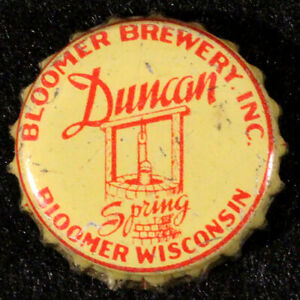 DUNCAN SPRING RED/YELLOW CORK LINED BEER BOTTLE CAP BLOOMER WISCONSIN CROWN WISC