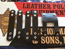 4 Vintage Tex Shoemaker Black Leather Police Duty Belt Keepers W Belt Strap
