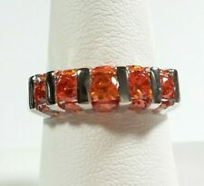 925 STERLING SILVER MULTISTONE GARNET COLOR CUBIC ZIRCONIA SIZE 6 RING