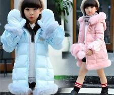 2016 parkas girls kids winter outerwear fur collar coats jacket hooded+ gloves