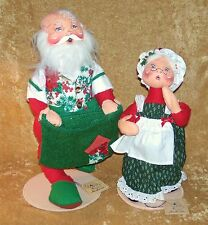 "ANNALEE Vintage SANTA & MRS. CLAUSE 17"" & 14"" Doll Figurines"