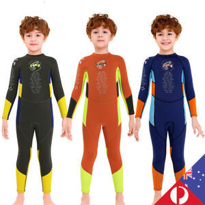 Kids Boys 2.5mm Long Sleeve Wetsuit Snorkeling Surfing Keep Warm Diving Suit AU