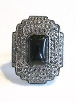 ART DECO COSTUME JEWELRY RING W BLACK GLASS RECTANGULAR CAB & MARCASITE LOOK