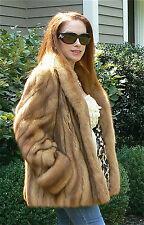 ***CLASSIC***ZANDRA RHODES GOLDEN CANADIAN SABLE FUR COAT JACKET 6-8 NEW $35K+