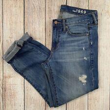 GAP Sexy Boyfriend Cropped Denim Jeans Destructed Distressed Vintage Wash 27 4