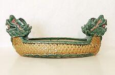 19 inch Long Ceramic Bamboo Planter Pot Vase with Dragon Boat Design