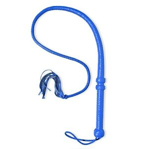 Genuine Leather 4 Feet Long 12 Plait Bullwhip Blue color high quality Sigle tail