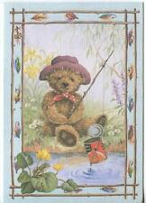 Teddy Bear Fishing Frog Garden Yellow Iris Flowers Baked Beans Can Greeting Card