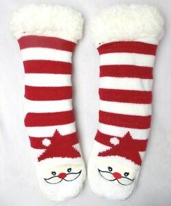 House Slipper Socks Charter Club Women's Santa Striped Fleece Lined Size L/XL