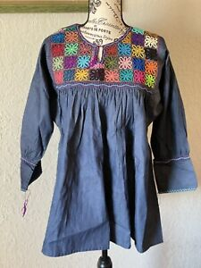 Mexican Blouse, Denim, Embroidered, Handmade