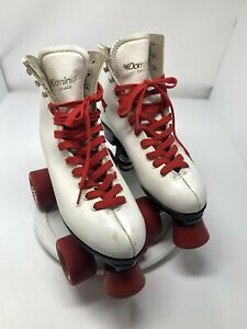 White Dominion Canada leather Roller Skates Women Sonic Wheels S 7-7.5 MSRP $149