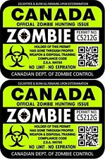 """Two Canada Zombie Hunting License Permit 3""""x4"""" Decals Stickers 1207 Green"""