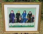 """Woodie Long Folk Art Acrylic Painting on Paper Titled """"Sunday"""" - Gallery Framed"""