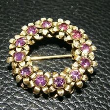 """Layered ~1 1/8"""" Stunning~ Older Victorian Purple Wreath Shaped Brooch~Double"""