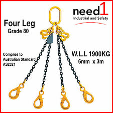 CHAIN SLING GR80 4 LEG 6MM X 3M W.L.L 1900KG C/W 4XSHORTENING HOOK & 4XSAFETY HO