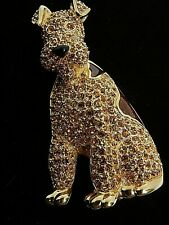 Signed Swarovski Brooch Airedale Dog Crystal Gold Plated 22kt
