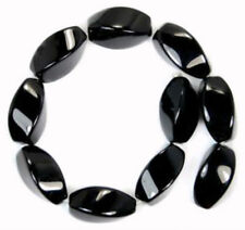 Natural 8x16mm Black Agate Gems Onxy Twisting Loose Beads 15''