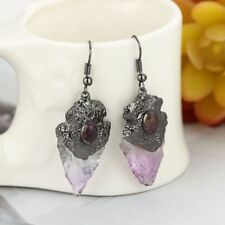 Pendent Eardrop Purple Crystal Triangle Irregular Natural Stone Earring 1PCS