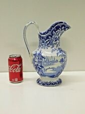 ANTIQUE 1820s 30s Early Tillenburg Blue Staffordshire Transferware Pitcher MINTY