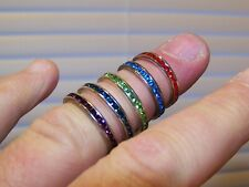 .925 Sterling Silver Gemstone Ring Set Lot Size 5 6 7 8 Red Blue Purple Green