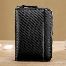 Carbon Fiber Leather Wallet Credit Card Key Holder RFID Blocking Zipper Purse