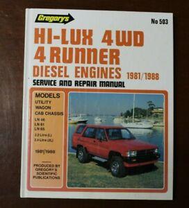 HI-LUX 4WD 4 RUNNER DIESEL ENGINES 1981/1988 SERVICE & REPAIR MANUAL BOOK