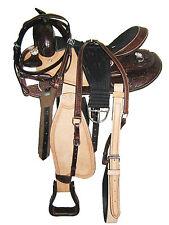 """'Thsl' Western Saddle Pkg Carved/Tooled Natural/Brown 17"""" (1083) * New *"""