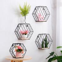 Hexagon Metal Wire Wall Hanging Shelf Pot Rack Storage Rack Holder Organizer