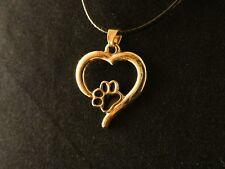 Anhänger 24 Karat Vergoldet Herz Pfote Necklace Kette Love Liebe Tiere