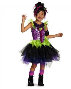 Girl's Punk Pop Rock Star Diva Costume Dress w Armband & Headpiece Child M 7-8