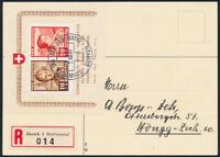 SCHWEIZ 1941, Block 6 auf portogerechter R-Karte, Attest Liniger, Mi. 550,-