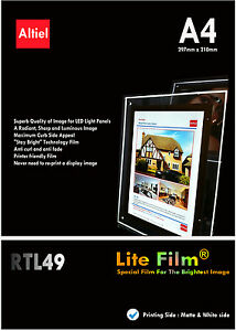 RTL49: A4 x 10s - Premium Back lit Paper /  Backlit Film for LED Light Panels