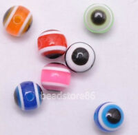 100pcs Mixed Multicolor Evil Eye Stripe Round Resin Spacer Beads 8mm