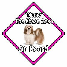 Personalised Dog On Board Car Safety Sign - Lhasa Apso On Board Pink
