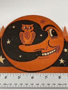 Vintage Halloween Paper Hat Moon Orange And Black  Tissue Paper
