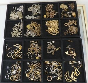 VTG big lot watch chain fob findings swivels clasps parts base metal gold filled