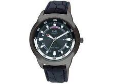 Q&Q A148J502Y Mens Sport Dress Watch Black Strap Water Resistant Wristwatch New