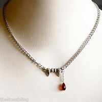 Gothic Fashion Vampire / Dracula Fangs & Red Crystal Blood Drop Pendant Necklace