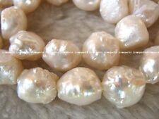 "unique! freshwater pearl white 9-13mm baroque 15"""