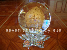 Feng Shui - Large White Umbrella Crystal Ball with Lotus Stand (Protection)