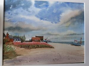 Original painting. Watercolour. Aldeburgh beach and boats. Suffolk.  Mounted.
