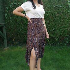 Talia Benson Black Floral One Split Skirt Size 10 12 M