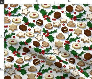 Traditional Christmas Cookies Holly Berries Large Spoonflower Fabric by the Yard