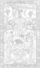 Lámina-Maya Rey Pakal Nave Espacial (imagen de arte cartel Alienigenas ancestrales)