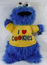 "VINTAGE RARE 14"" COOKIE MONSTER STUFFED PLUSH RATTLE TOY APPLAUSE I LOVE COOKIES"