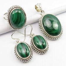 925 Solid Sterling Silver Original MALACHITE Earrings Pendant Ring #6.5 SET