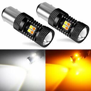 JDM ASTAR Bright 1157 BAY15D Dual Color White/Amber Switchback 16-SMD LED Lights