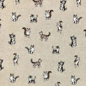 Chatham-Glyn Fabrics Shabby  Cats Design Cotton Rich Linen Look Fabric